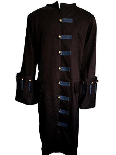 Johnny Brown Costumes (Jack Sparrow Pirates of the Caribbean 5 Johnny Depp Cosplay Brown Costume Trench Coat Jacket (XXXL, Brown))