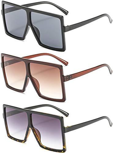 MAOLEN Oversized Square Polarized Sunglasses for Women Flat Top Shades Sunglasses (leopard-grey+gloss black-grey+leopard-grey)