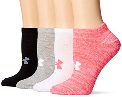 Under Armour Womens Essential No Show Socks 4 Pairs, Harmony Pink Assorted, Medium
