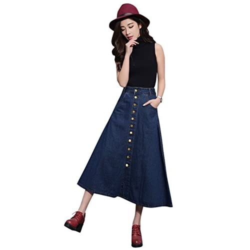 Drasawee Long Button Through 2 Pockets A Line High Waist Jeans Denim Skirt
