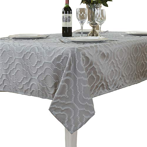Rhap Tablecloth, Table Cloth for Rectangle Table Tabletop Decor for Kitchen Dining, 60×102inch Silver Waterproof Dust-Proof Table Covers