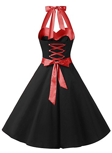 d3b0d0fa5b4 DRESSTELLS 50s Retro Halter Rockabilly Polka Dots Audrey Dress Cocktail Dress  Black M