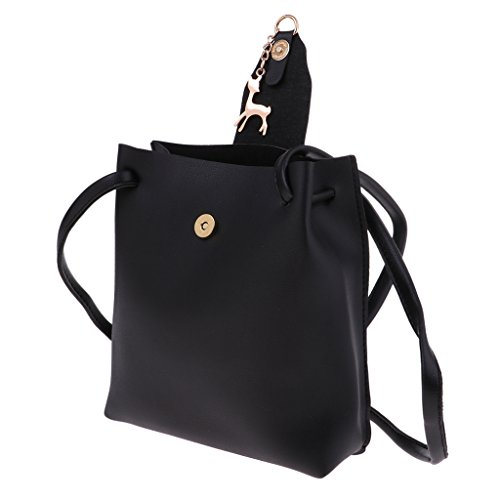 Pendant 17 Deer Cute cm Bucket Messenger x x 5 Women Gray Bag Handbag Baoblaze Black Bag 20 Crossbody Shoulder wRHtRPq