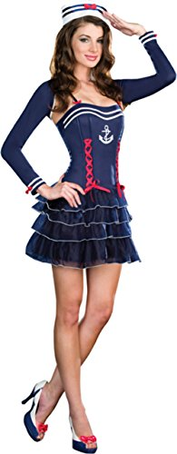 Sailor Sweetie Adult Costumes (Dreamgirl Womens Surf City Sweetie Navy Sailor Outfit Fancy Dress Sexy Costume, L (10-14))