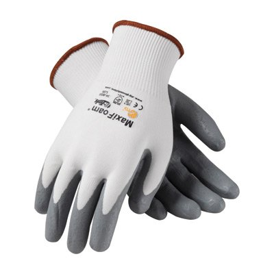(Protective Industrial Products 34-800/S Small MaxiFoam By ATG 15 Gauge Abrasion Resistant Gray Foam Nitrile Palm And Fingertip Coated Work Gloves With White Seamless Knit Nylon Liner And Continuous Knit Cuff (12/EA))