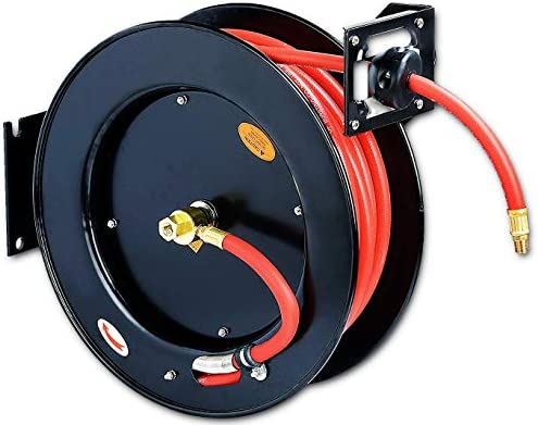 """REELWORKS Air-Hose-Reel Retractable 3/8"""" x 50' ft Spring Driven Steel Construction Heavy Duty Industrial Max 300 PSI Premium Commercial Flex Hybrid Polymer Hose"""