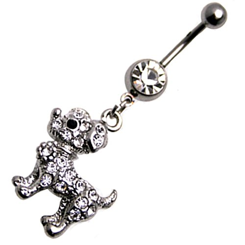 Multi Jewel Cz Cute Poodle Puppy Dangle Belly Ring Surgical