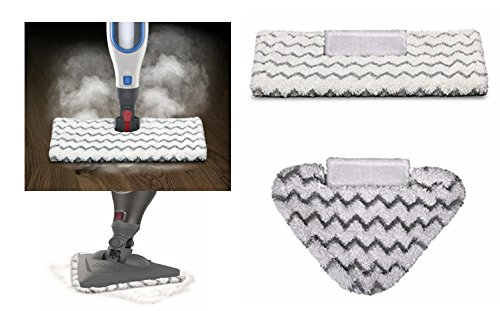 Astar ® 2 Pack Rectangle + Triangle Touch-Free Dirt Grip Washable Pads Compatible with Shark Genius Steam Mops