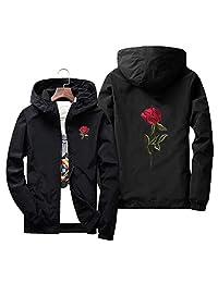 Fashion Hoodies Embroidery Rose Flower Windbreaker Jacket Men Hooded Bomber Jacket Skin Mens Jackets Big Size S M 7XL