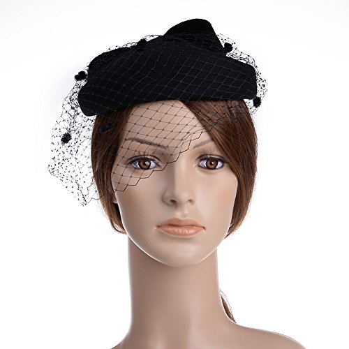 Hat With Veil (Vbiger Women's Fascinator Woolen Felt Pillbox Hat Cocktail Party Wedding Bow Veil (Black))