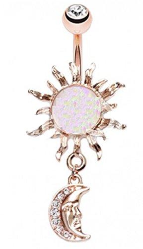 Body Accentz Belly Button Ring Navel Opal Celestial Sun Moon Dangle (14kt Rose Gold Plate) ()