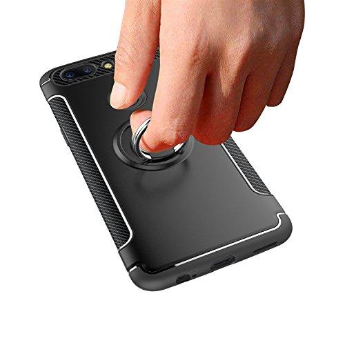 YHUISEN Armor Dual Layer 2 en 1 estuche de protección con 360 grados giratorio Finger Ring Holder y Magnet Car Holder Case para OnePlus 5T ( Color : Rose Gold ) Black