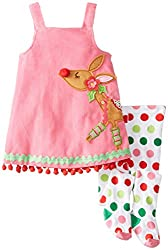 Mud Pie Little Girls' Reindeer Jumper and Tights, Pink, 4T