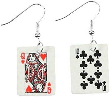 Ohrringe in weißer Herzform in der Mitte aus Email Poker Kartenspiel  5028