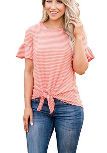 (Poulax Women Casual Ruffle Short Sleeve Striped Knot Tie Front Loose Tee T Shirt Tops,New Orange,M)