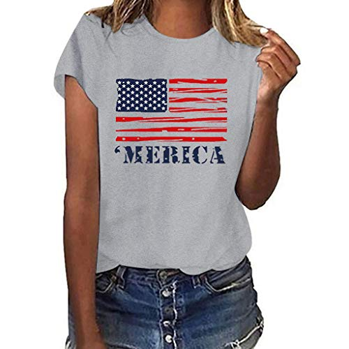 Aunimeifly Independence Day Ladies USA Flag Pattern T-Shirt Short Sleeve Shirts Top Women Casual Blouse Gray