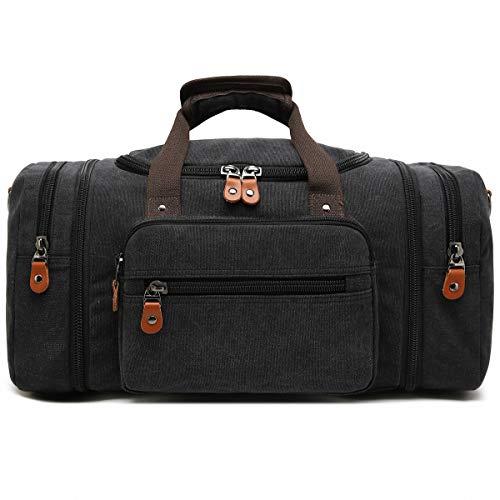 Kenox Oversized Canvas Travel Tote Luggage Weekend Duffel Bag (Black)