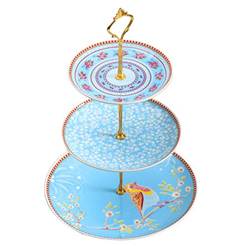B.Hamster Cupcake Stands Elegant Embossed 3-tier Ceramic Pastry Stands - Dessert Stand- Tea Party Pastry Serving platter in Gift Box (CakeStand=2019 Blue Bird)