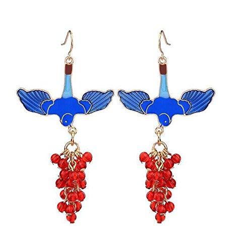 Bohemian style Blue Enamel Bird Red Crystal Beaded Drop Earrings for Women Accessories