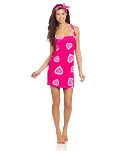 Seven Apparel Hotel Spa Collection Printed Plush Shower Wrap and Headband, Small, Hearts
