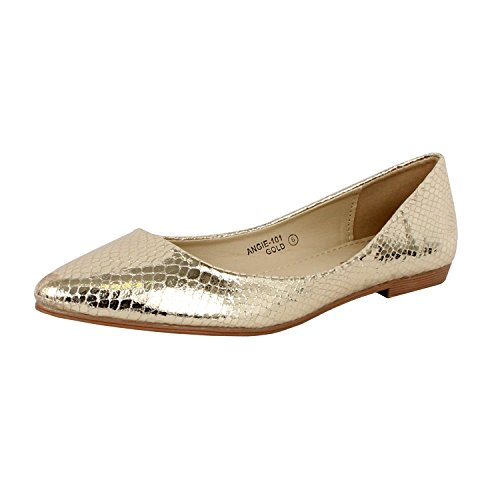 Bella Marie Angie-101 Women's pointy toe boat slip on patent snake leather flats Black 9
