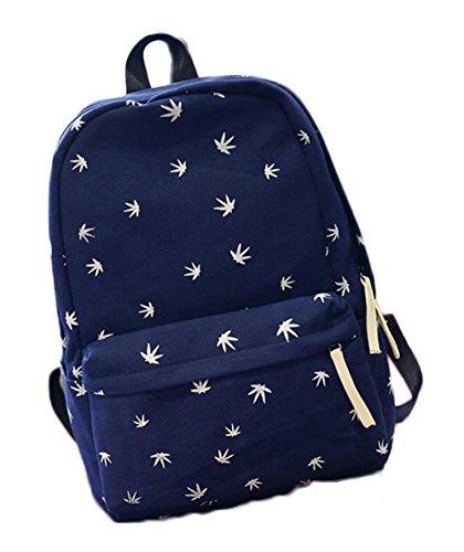 LAAT Student Casual Schultasche Canvas Schulter Rucksack leichte Laptop Tasche Unisex Travel Daypack 30 * 14 * 40 cm dunkelblau