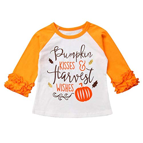 Mayunn (6M-5Y) Toddler Baby Boys Girls Halloween Ruffle Pumpkin Tops T-Shirts Tee Outfits ()