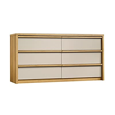 "Sauder 412033 Soft Modern 6-Drawer Dresser, L: 60.47"" x W: 17.48"" x H: 30.98"", Pale Oak finish - Easy-glide drawers Mocassin finish accents Spacious storage - dressers-bedroom-furniture, bedroom-furniture, bedroom - 418ItOSKI4L. SS400  -"