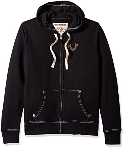 True Religion Men's Buddha Logo Zip Hoodie, Black, S from True Religion
