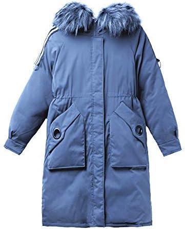 Shawujing Inverno Caldo in Cotone da Donna Lungo Sciolto Ampio Collo di Pelliccia Giacca Calda Spessa Abbigliamento in Cotone Luccio Tendenza Moda Confortevole Blu