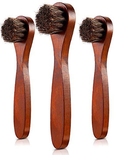 Jovitec 3 Pieces Horsehair Shoes Polish Brushes Care Clean Daubers Applicators (Set -
