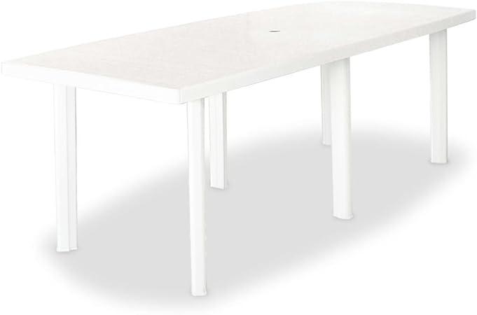 vidaXL Table de Jardin 210x96x72 cm Plastique Blanc Table à Manger Patio