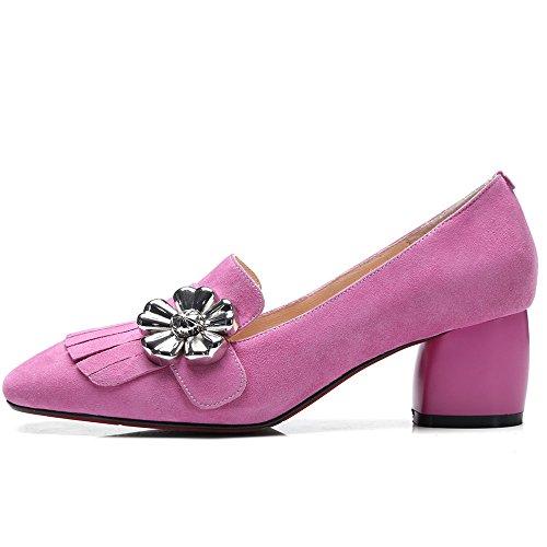 con de Nine Moda de de Seven Cuero Mujer Flecos para Grueso Vestir Tacón Cuadrada Rosa Puntera Zapatos fnfgv