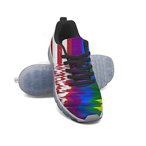 Euuair Vrouwen Amerikaanse Regenboogvlag Fitness Luchtkussen Schoenen Sport Hardlopen Wandelen Sneakers