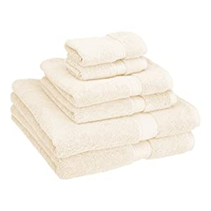 Superior Egyptian Cotton Solid Towel Set, 6PC, Cream
