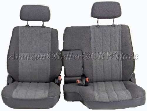 A57 Toyota Pickup 60/40 Split Bench Seat Covers, Triple Stitched with 8mm Extra Thick Padding, Adjustable Headrests, Armrest Access, Seat Belt Cutout, Custom Made for Exact Fit 1990 - 1995 (Gray Grey) (Scotch Guard For Seats)