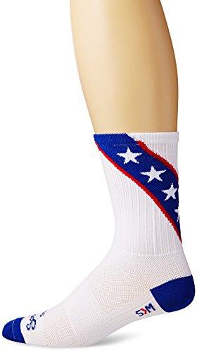 SockGuy Men's Daredevil Crew Sock, White/Blue, Sock Size:10-13/Shoe Size: 6-12 from SockGuy