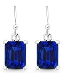 Sterling Silver 10x8mm Emerald-Cut Gemstone Dangle Earrings