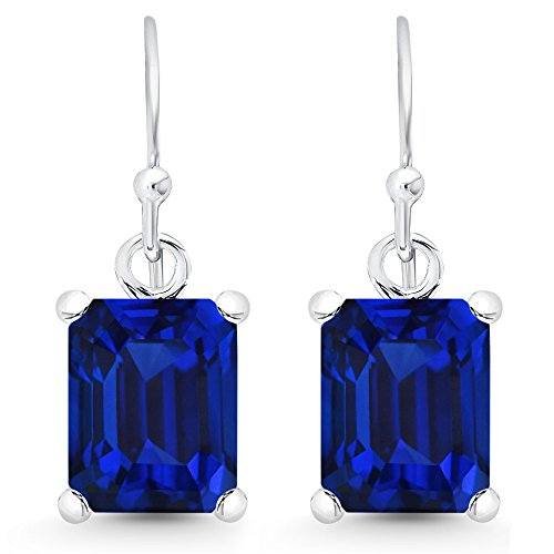 Lab Gemstone Created Rings - Sterling Silver Emerald-Cut Created Blue Sapphire Dangle Earrings (7.0 cttw.)