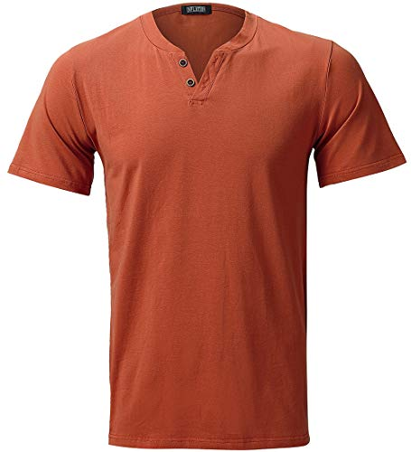 INFLATION Mens Elastic Slim Fit Short Sleeve Button V-Neck Causal T Shirt Rust Red
