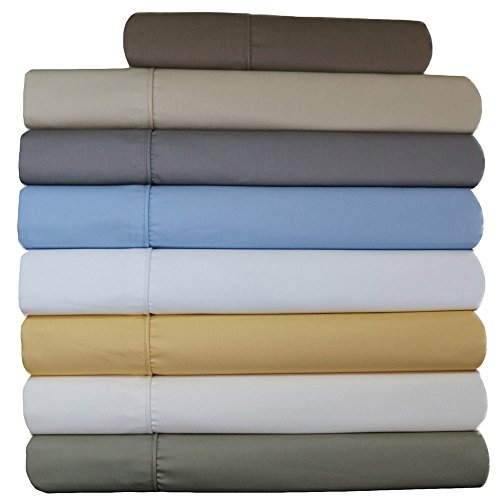 Abripedic Wrinkle Free Sheets, 650 Thread Count, Deep Pocket, Cotton Poly Blend Sheet Set, Adjustable Cal-King w/ 2 Twin Fitted, Split Cal-King, ()