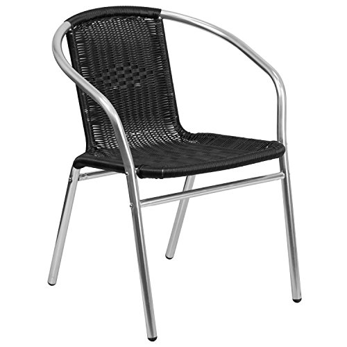 Flash Furniture Commercial Aluminum and Black Rattan Indoor-Outdoor Restaurant Stack Chair (Commercial Rattan Outdoor Furniture)