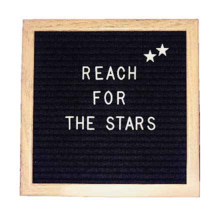 Open Face Message Board - 10x10 Inch Wood Frame Black Felt Letter Board | Small Changeable Letter Board | Open Face Letter Board | Mountable Hanging Clip | Includes 340 Letters, Numbers & Emojis with Canvas Storage Bag