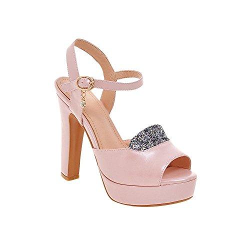 mit modern hohen toe Slingback Strass Sandalen Damen Pink Schnalle Pailletten Plateau Peep Mee Shoes Absätzen 7FqExwAP