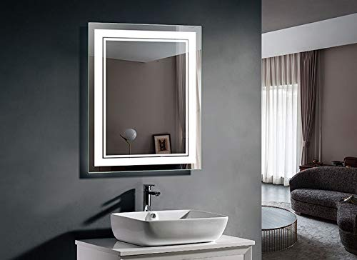LED Bathroom Silvered Mirror with Touch Button (DK-OD-CK160) (28 x 36 in - Rectangle Mirrors Decoraport Vertical Led Bathroom