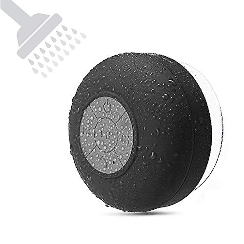 Shower Speakers Bluetooth Waterproof Wireless Speaker BONBON Water Resistant Handsfree Portable Build-in Microphone, Solid Suction Cup, 4 hrs Play Time,Black