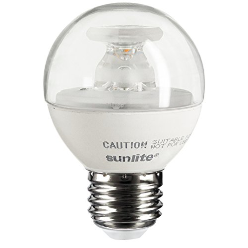 Sunlite G16/5W/E26/D/CL/E/27K LED 40W Equivalent G16 Globe Light Bulb with 2700K Medium (E26) Base Clear Dimmable, Warm White