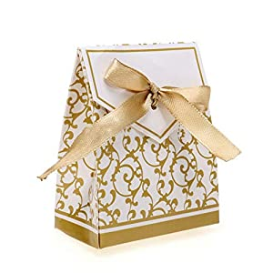YaptheS 100Pcs Gift Box Wedding Party Favor Candy Boxes with Gold Ribbon Wedding Favor Boxes Household Products