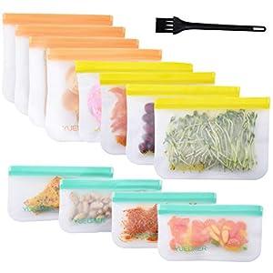 Yuedaer Reusable Food Storage Bags 12 Pack Reusable Zip Lock Bags Freezer Bag Safe for Snacks Sandwich Reusable Food…