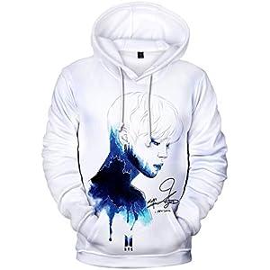 bettydom Women's Novelty Kpop BTS Hoodie Bangtan Boys Patterns Sweatshirt 3D Printed Pullover(M,A Watercolor)